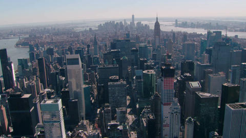 Sweeping new york city aerial looking downtown Footage
