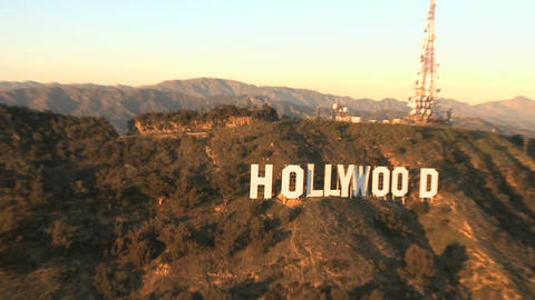 Zoom out hollywood sign aerial Footage