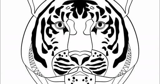 This is power, animation with tiger head in monochrome drawing, advertising Bild