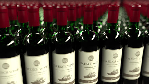 Many bottles of French wine, seamless loop animation Footage