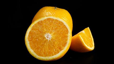 Fresh orange halves Footage
