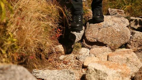 Man walks mountain trail away ライブ動画