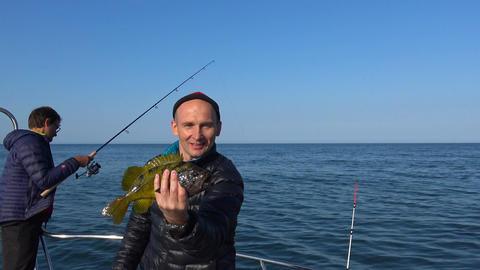 Successful fishing. Sea Safari journey along the Kamchatka Peninsula. Russia Footage