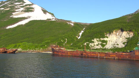 Graveyard of ships. Sea Safari journey along the Kamchatka Peninsula. Russia Footage