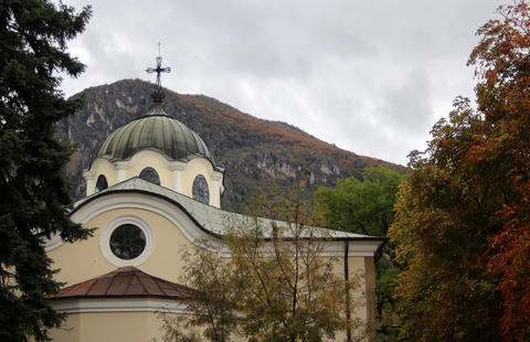 Orthodox Church with an autumn background フォト