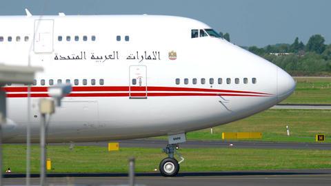 United Arab Emirates Royal Flight Boeing 747 taxiing Footage