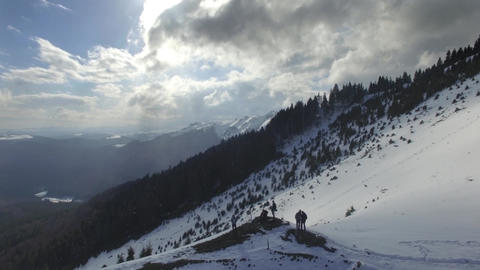 Winter Landscape Clouds over Pine Trees Footage