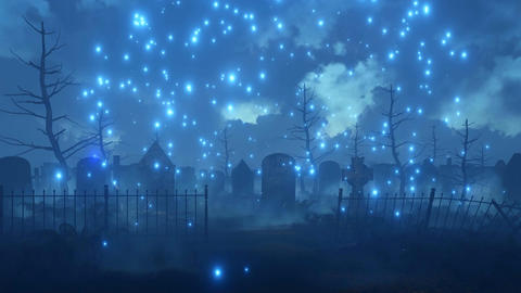 Scary night graveyard with magic firefly lights Animation