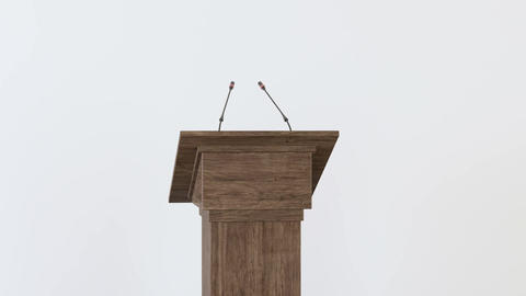 Wooden podium with Microphones on a white background Footage