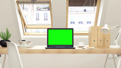 Laptop with track green screen on desk Filmmaterial