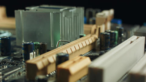 Electronics components on modern PC computer mainboard Footage