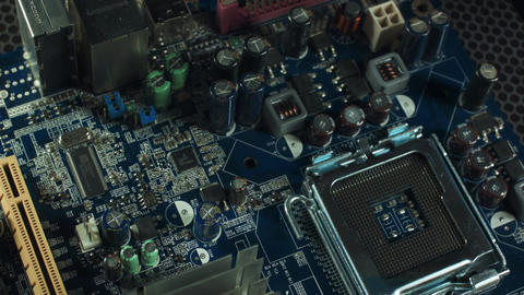 Memory slots on motherboard with chipset and wired connection Footage