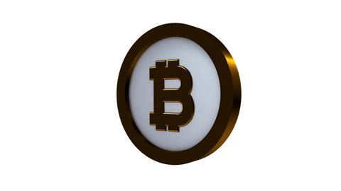 Rotating Bitcoin on a white background Filmmaterial