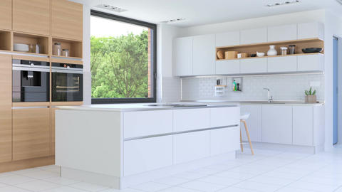 Kitchen with white furniture Footage