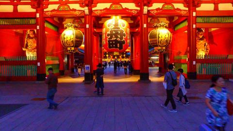 Sensoji Houzoumon to the main hall,Tokyo Japan Footage