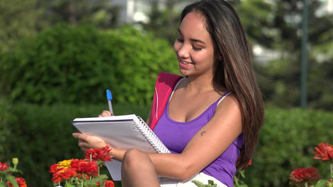 Teen Female Student Studying And Thinking Live Action