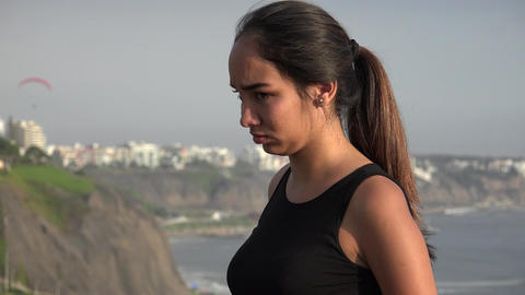 Unhappy Teen Hispanic Girl Live Action