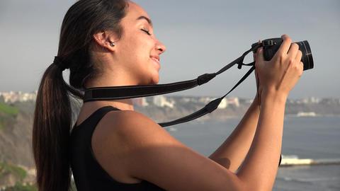 Teen Girl Holding Dslr Camera Live Action