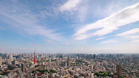 Walk in the air (Blue sky & cloud shape at Tokyo city) zoom out Filmmaterial