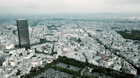 Aerial panoramic shot of Paris cityscape and the Eiffel tower as seen from Footage