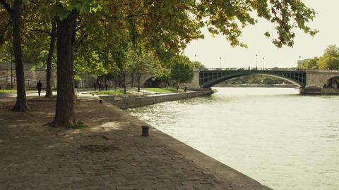 Steadicam walk along the Seine river embankment in Paris in autumn, France Footage