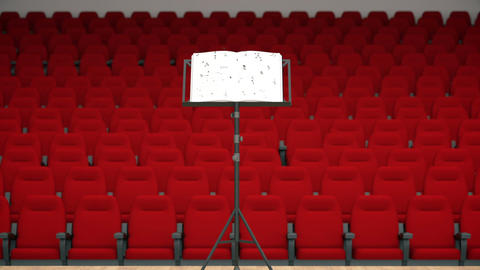 Music stand with melody sheets and chairs in a concert hall's interior Footage