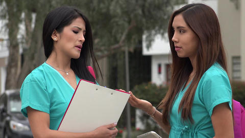 Female Nursing Students Talking Live Action
