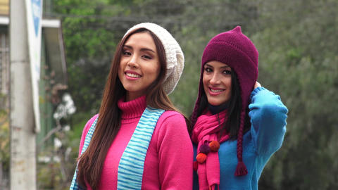 Cold Young Women Wearing Knit Sweaters Footage