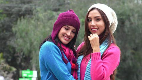Hispanic Women Friends Cold Weather Live Action