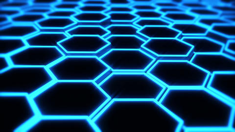 abstract hexagon blue Animation