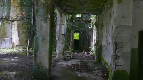 Damaged Building WWII Japanese Army Headquarters Battle Of Peleliu Palau Footage