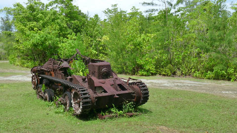 Rusty Japanese Armored Vehicle Military Tank Peleliu Battlefield World War stock footage
