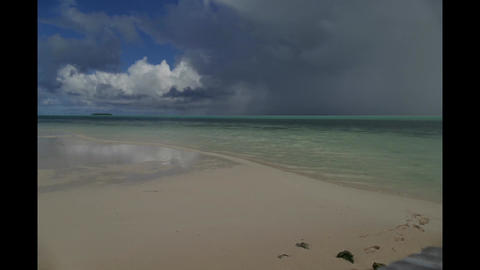 Timelapse Landscape Tropical Beach Sea Sky Clouds Atoll Palau Micronesia Footage