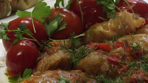 stuffed cabbage close up Footage