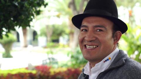 People Faces Saraguro Man Portrait Side Footage