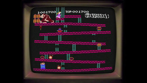 8bit DonkeyKong level complete vintage arcade screen Footage