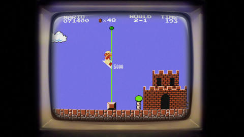 Super Mario level complete on a vintage screen arcade Live Action