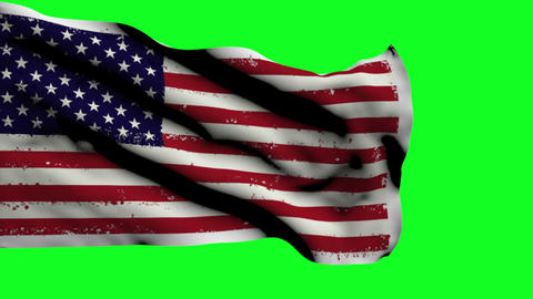 Usa Flag On Green Screen Footage