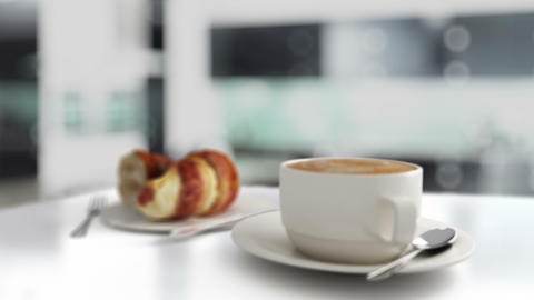 Hot Coffee And Croissant Breakfast stock footage