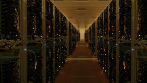 Data center server room network upload download Footage