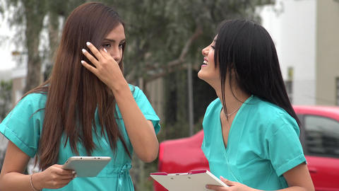 Happy Female Nurse Laughing Live Action