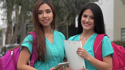 Female Hispanic Nursing Students Stock Video Footage