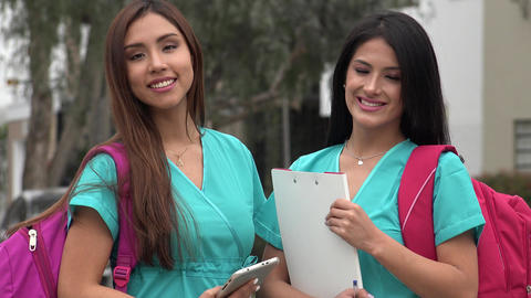 Female Hispanic Nursing Students Footage
