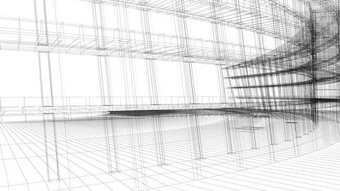 3D render animation of building wireframe Footage
