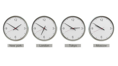 Time Zone Clocks showing different time Live Action