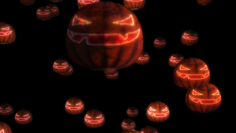 Scary Pumpkin Face Halloween Background loop glow 4k Animation