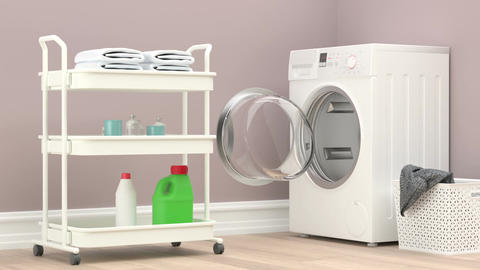 Modern Laundry Room With Washing Machine and cleaning supplies Footage