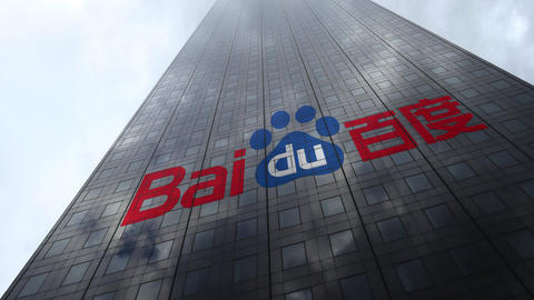Baidu logo on a skyscraper facade reflecting clouds, time lapse. Editorial 3D Footage