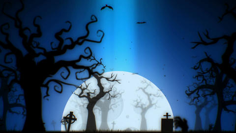 Halloween spooky animation background motion graphics footage (blue theme) Animation