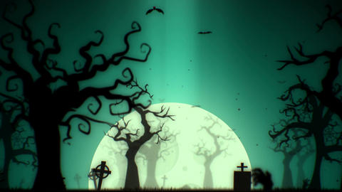 Halloween spooky animation background motion graphics footage (green theme) Filmmaterial